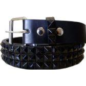 36 Units of Pyramid Studded Black Belt - Unisex Fashion Belts