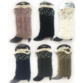 12 Units of Wholesale Knitted Rhinestone Boot Topper with Crochet Top Assorte
