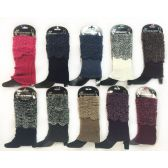 24 Units of Wholesale Knitted Short Boottopper Crochet Pattern Assorted Color