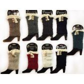 12 Units of Wholesale Knitted Boot Topper with Buttons Lace Leg Warmer