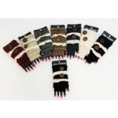 12 Units of Wholesale Vintage Lace and Buttons Knitted Fingerless Gloves - Knitted Stretch Gloves