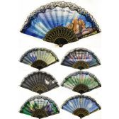 36 Units of Wholesale Hand Fan with Religious Christian Theme Assorted Print