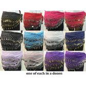 24 Units of Wholesale Belly Dance Sash Wraps Assorted colors 128 coins - Costume Accessories