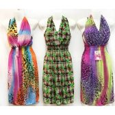 12 Units of Wholesale Short Sun Dress with Neck Strap Assorted Color Print - Womens Apparel