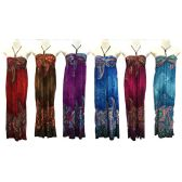 12 Units of Wholesale Long Dress Floral Print with Beaded Neck Tie - Womens Apparel