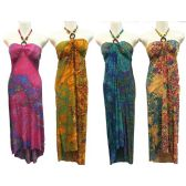 12 Units of Wholesale Long Dress Paisley Print with Beaded Neck Tie - Womens Apparel