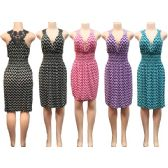 12 Units of Wholesale Sun Dress Chevron Print with Lace Back Assorted Colors - Womens Apparel