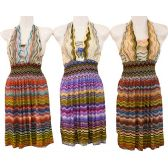 12 Units of Wholesale Short Dresses Chevron Assorted Cultural Prints - Womens Apparel