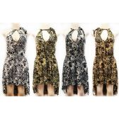 12 Units of Wholesale High Low Dress with Animal Print and Neck Tie Assorted - Womens Apparel