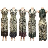 12 Units of Wholesale Long Sun Dress Zebra Leopard Print Assorted Colors - Womens Apparel