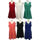 12 Units of Wholesale Solid Color Dress Crochet Neck with Imitation Pearls - Womens Apparel