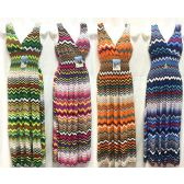 12 Units of Wholesale Long Dress Multicolor Chevron Print Assorted Colors - Womens Apparel