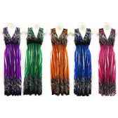 12 Units of Wholesale Long Length Lady Sun Dress with Streaky Leaves - Womens Apparel