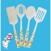60 Units of 2 SLOTTED/2 SOLID SPATULA AND SPOON MELAMINE - Kitchen Utensils