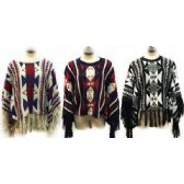 12 Units of Wholesale Knitted Poncho Abstract Geometric Pattern Fringes