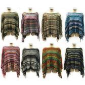 12 Units of Wholesale Multicolor Chevron Knitted Ponchos Assorted - Winter Pashminas and Ponchos