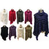 12 Units of Wholesale Cowl Collar Knitted Ruffles Ponchos Assorted - Winter Pashminas and Ponchos