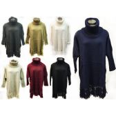 12 Units of Wholesale Knitted Turtle Neck Sweater Dress/Poncho assorted