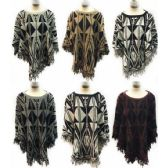 12 Units of Wholesale Aztec Design Knitted Ponchos with Fringes