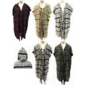 12 Units of Wholesale Long Cardigan with Hood and fringes along the center - Winter Pashminas and Ponchos