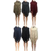 12 Units of Wholesale Knitted Poncho Button Collar with Sequins and Fringes - Winter Pashminas and Ponchos