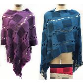 12 Units of Wholesale Knit Poncho Shawl Contrasting Square Patch and Fringes - Winter Pashminas and Ponchos