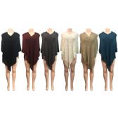 12 Units of Wholesale Winter Knitted Poncho with Chevron Pattern Fringes