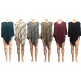 12 Units of Wholesale Winter Knitted Poncho Two Tone Square Pattern Assorted - Winter Pashminas and Ponchos