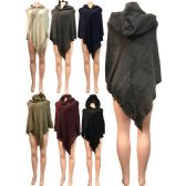 12 Units of Wholesale Winter Knitted Poncho with Hood and Glittery Section - Winter Pashminas and Ponchos