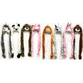 48 Units of Wholesale Plush Fuzzy Long Animal Hat with Mittens