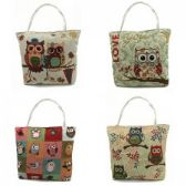36 Units of Tapestry Tote - Owl prints Assorted - Tote Bags & Slings