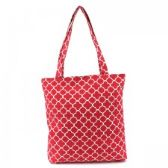 36 Units of Mid Size Tote in Pink Quatrefoil - Tote Bags & Slings
