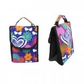 "24 Units of 10"" Insulated Lunch Bag In a Flower and Heart Print - Lunch Bags & Accessories"