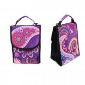 "24 Units of 10"" Insulated Lunch Bag In a Purple Paisley Print - Lunch Bags & Accessories"
