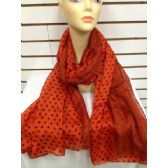 36 Units of POLKA DOT SCARF (Auburn Orange)