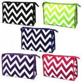60 Units of Large Cosmetic Make Up Bag in a Chevron Print
