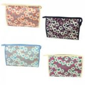 60 Units of Large Cosmetic Make Up Bag in a Daisy Print