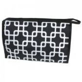 60 Units of Large Cosmetic Make Up Bag in Overlapping Squares Design