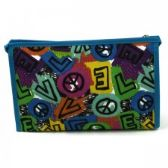 60 Units of Cosmetic Make Up Bag in a Peace Love Print
