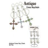 36 Units of ANTIQUE CROSS KEY CHAIN