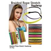 72 Units of BRAIDED ROPE STRETCH HEADWRAP - Head Wraps