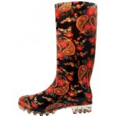 18 Units of 13 1/4 Inches Women's Black Red Flower Printed Rain Boots Size 6-11 - Womens Boots