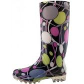18 Units of 13 1/4 Inches Women's Wavy Line & Circular Ring Printed Rain Boots Size 5-10 - Womens Boots