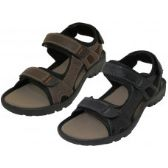 24 Units of Men's Double Velcro Man Make Leather Sandals ( *Asst. Black And Dark Brown ) Size 7-13