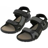 24 Units of Men's Double Velcro PU Sandals ( *Asst. Black And Gray )