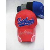 "36 Units of ""Los Angeles"" Base Ball Cap In Assorted Colors Red, Blue, Black - Baseball Caps & Snap Backs"