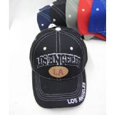 "36 Units of ""Los Angeles"" Base Ball Cap With White Stitching - Baseball Caps & Snap Backs"