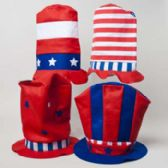 72 Units of Tophat Patriotic Felt Oversize 4ast Designs 10.25x12x11in/ht