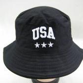 24 Units of Mens Bucket Hat in Black - USA - Bucket Hats