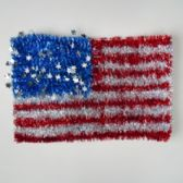 24 Units of Tinsel Flag Shape Patriotic Hanging Decor 20x13in W/hangtag
